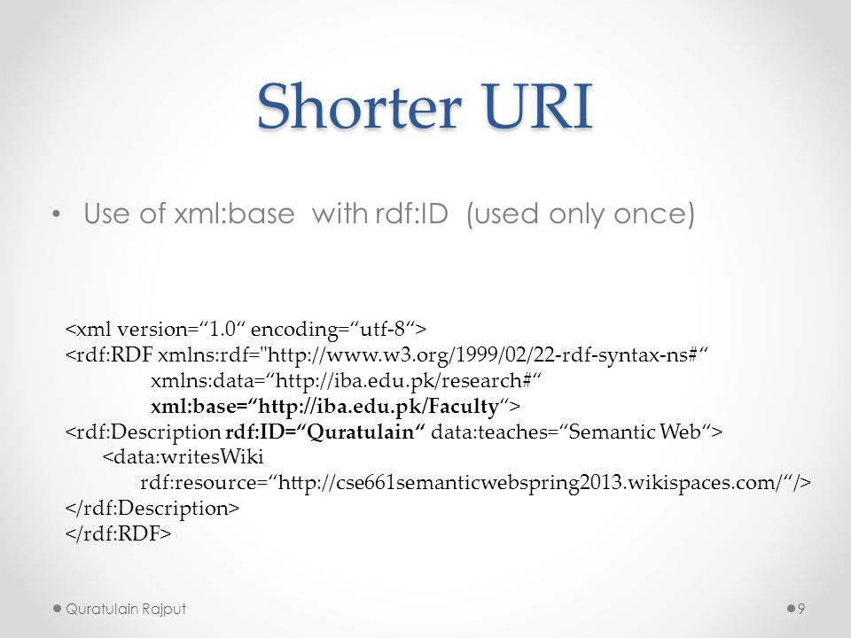 Shorter URI Use of xml:base with rdf:ID (used only once)