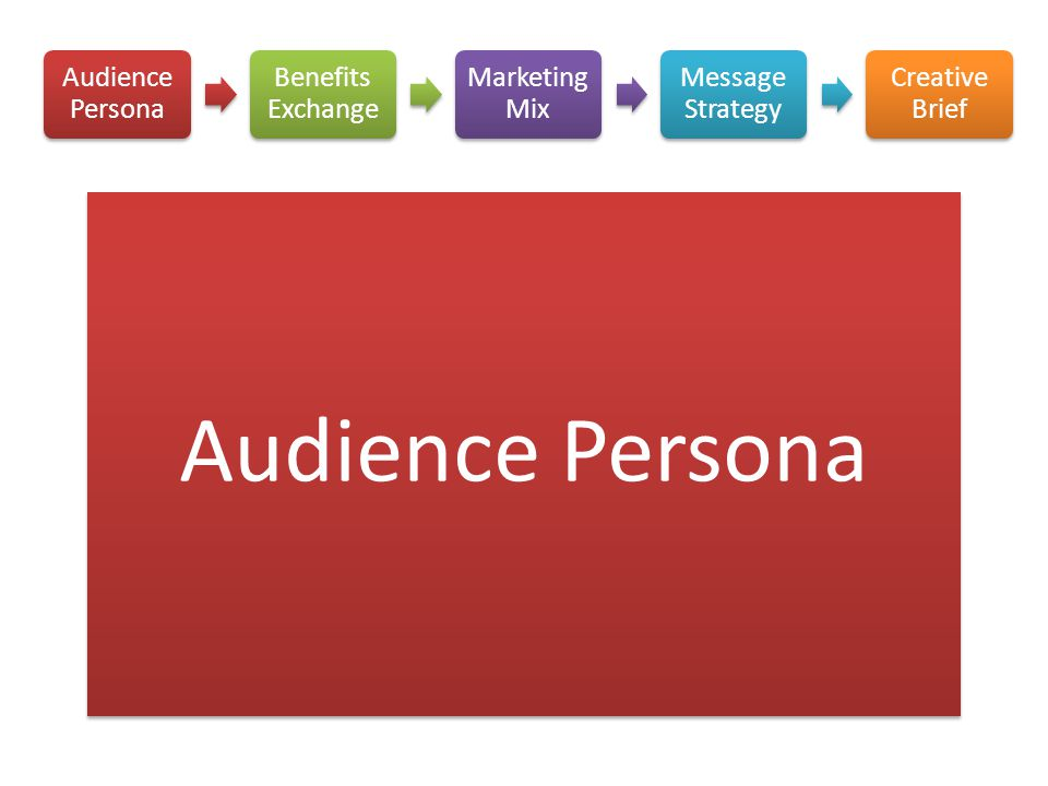 Audience Persona Audience Persona Benefits Exchange Marketing Mix