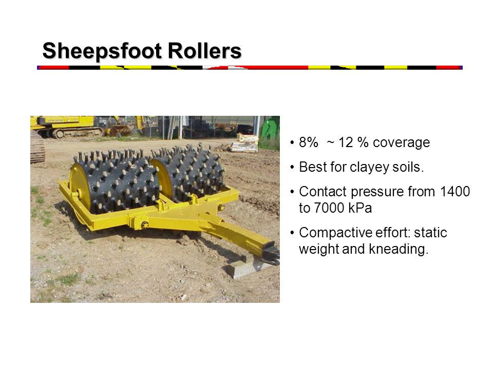 Sheepsfoot Rollers 8% ~ 12 % coverage Best for clayey soils.