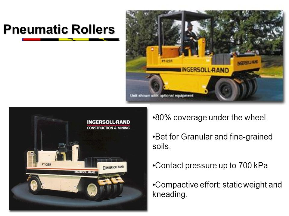 Pneumatic Rollers 80% coverage under the wheel.