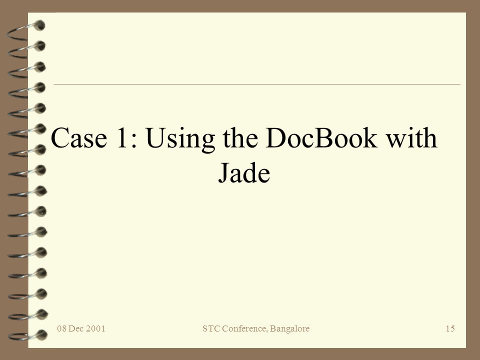 Case 1: Using the DocBook with Jade