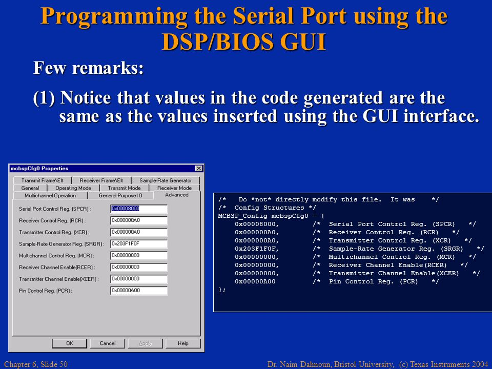 Programming the Serial Port using the DSP/BIOS GUI