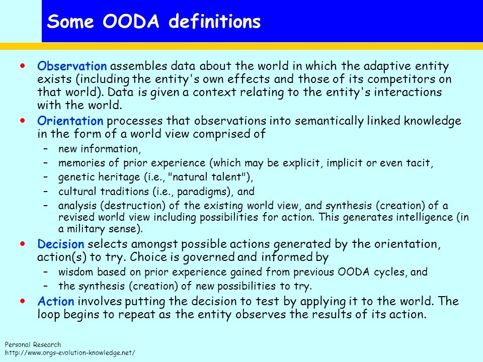 Some OODA definitions