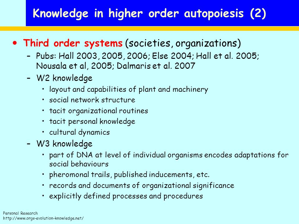 Knowledge in higher order autopoiesis (2)