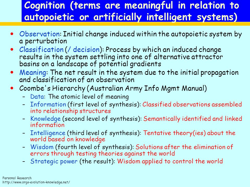 Cognition (terms are meaningful in relation to autopoietic or artificially intelligent systems)