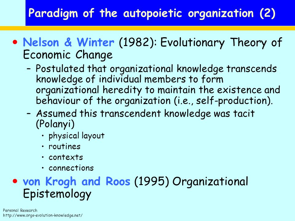 Paradigm of the autopoietic organization (2)