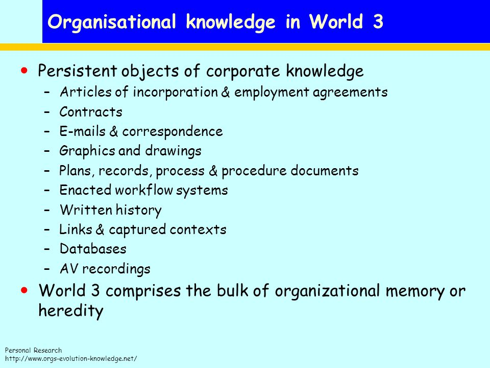 Organisational knowledge in World 3