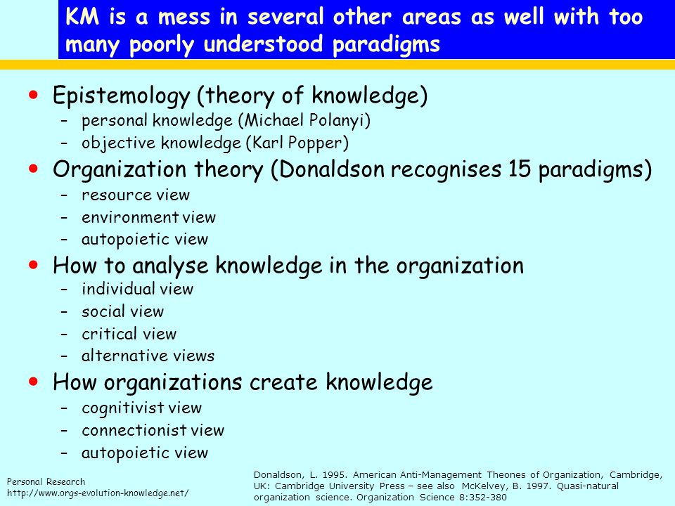 Epistemology (theory of knowledge)