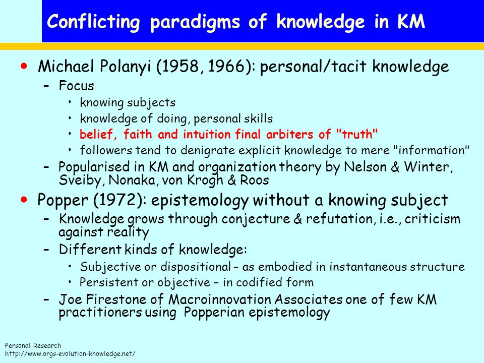 Conflicting paradigms of knowledge in KM