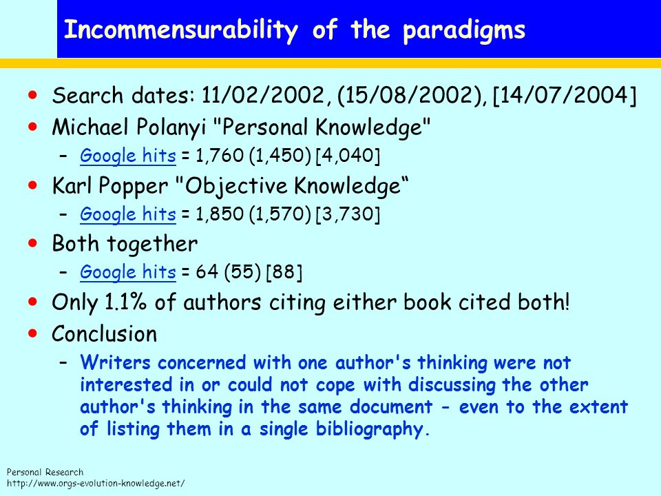 Incommensurability of the paradigms