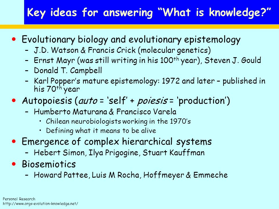 Key ideas for answering What is knowledge