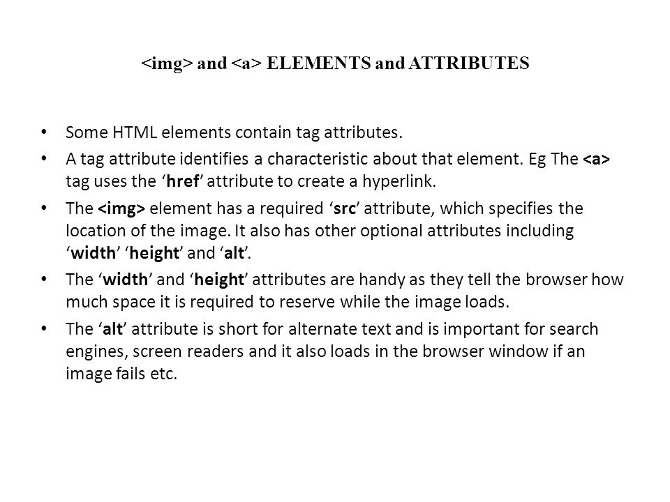 <img> and <a> ELEMENTS and ATTRIBUTES