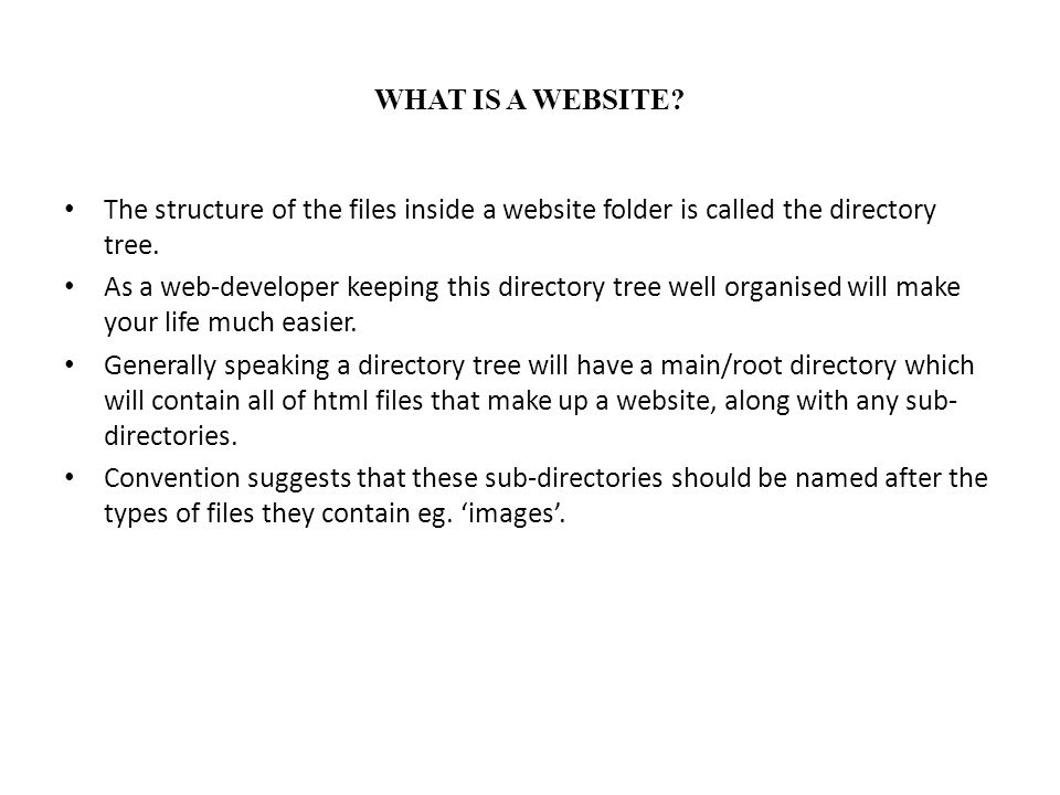 WHAT IS A WEBSITE The structure of the files inside a website folder is called the directory tree.