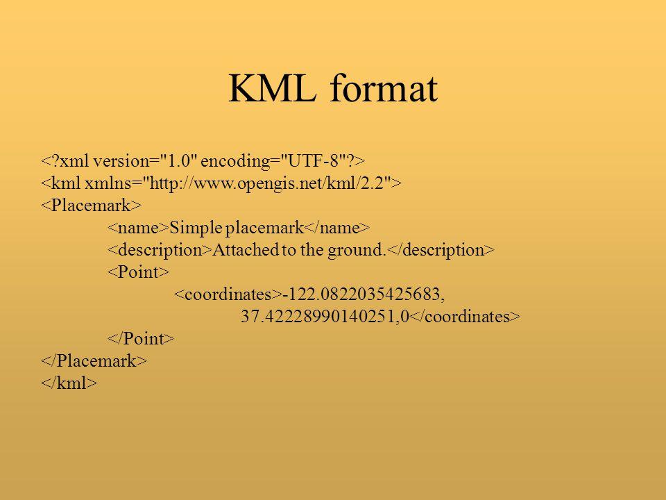 KML format < xml version= 1.0 encoding= UTF-8 > <kml xmlns= http://www.opengis.net/kml/2.2 >