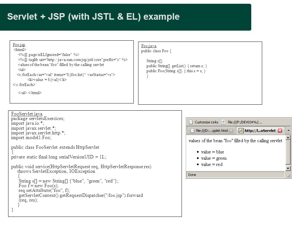 Servlet + JSP (with JSTL & EL) example
