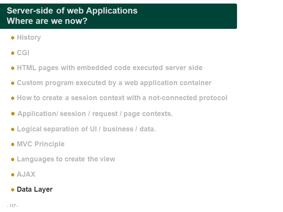 Server-side of web Applications Where are we now