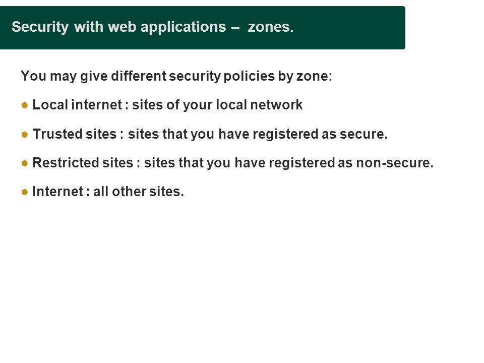 Security with web applications – zones.