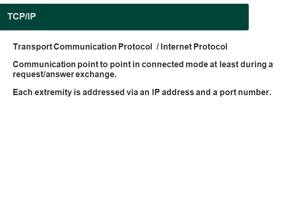 TCP/IP Transport Communication Protocol / Internet Protocol