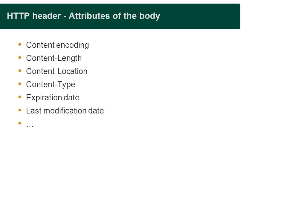 HTTP header - Attributes of the body
