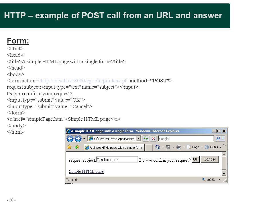 HTTP – example of POST call from an URL and answer