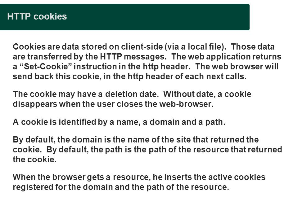 Presentation title HTTP cookies.