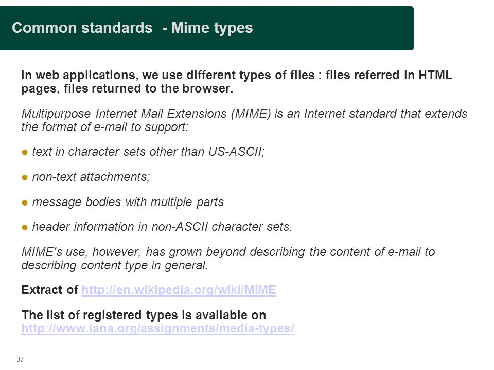 Common standards - Mime types