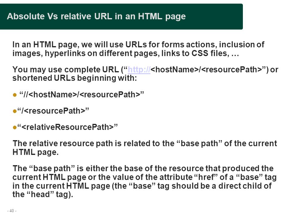 Absolute Vs relative URL in an HTML page