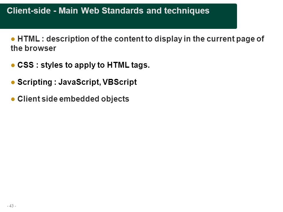 Client-side - Main Web Standards and techniques