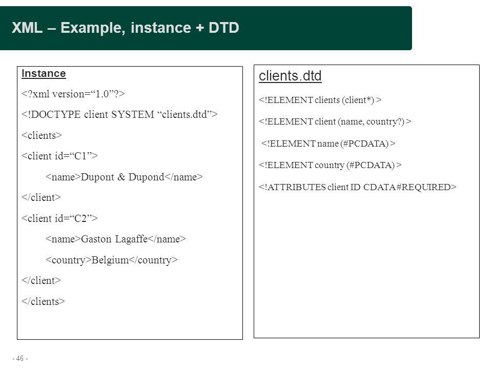 XML – Example, instance + DTD