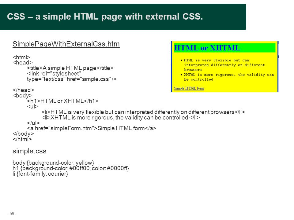 CSS – a simple HTML page with external CSS.