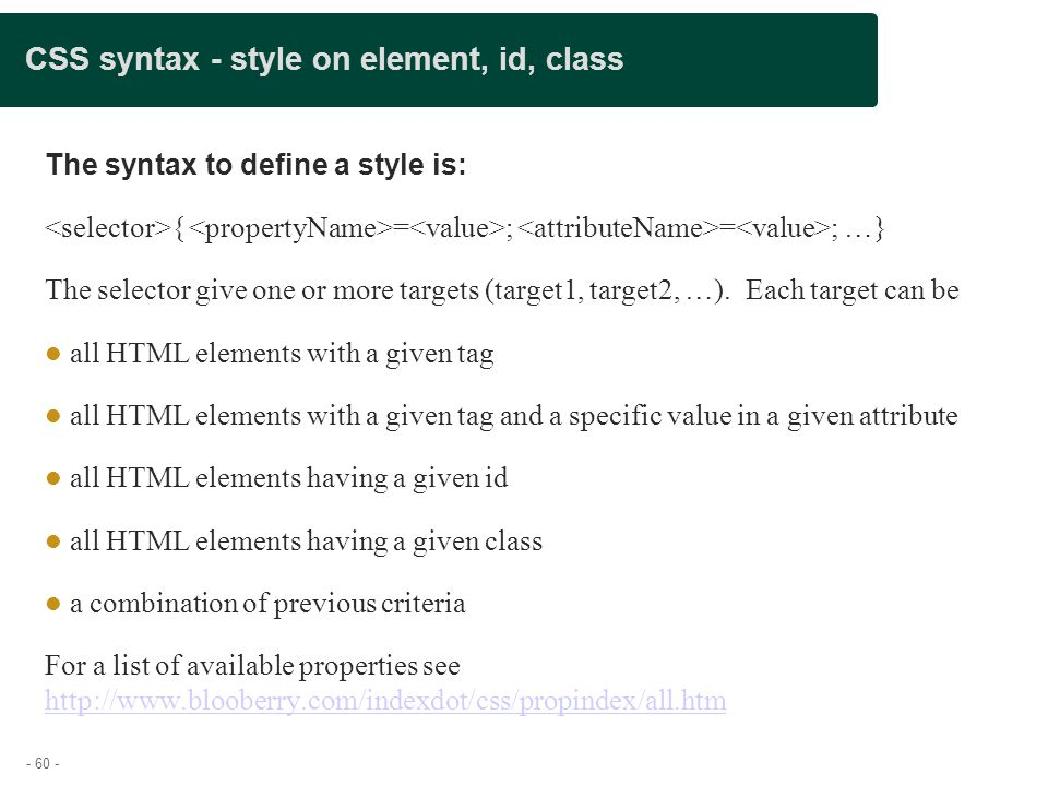 CSS syntax - style on element, id, class
