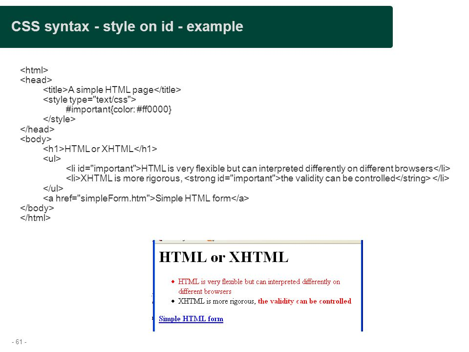CSS syntax - style on id - example