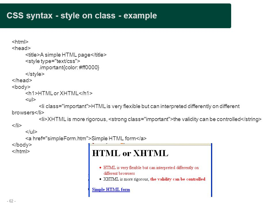 CSS syntax - style on class - example