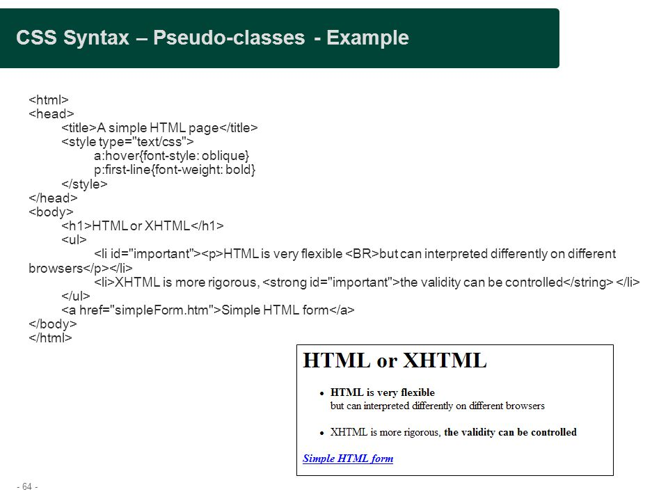 CSS Syntax – Pseudo-classes - Example