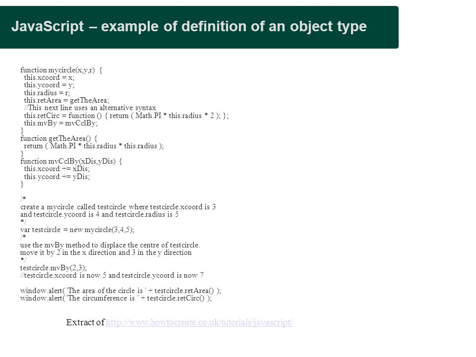 JavaScript – example of definition of an object type