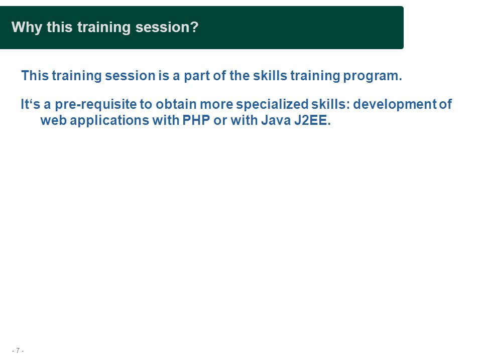 Why this training session