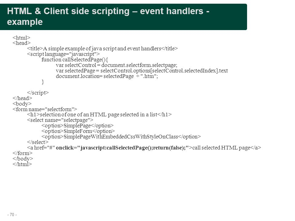 HTML & Client side scripting – event handlers - example