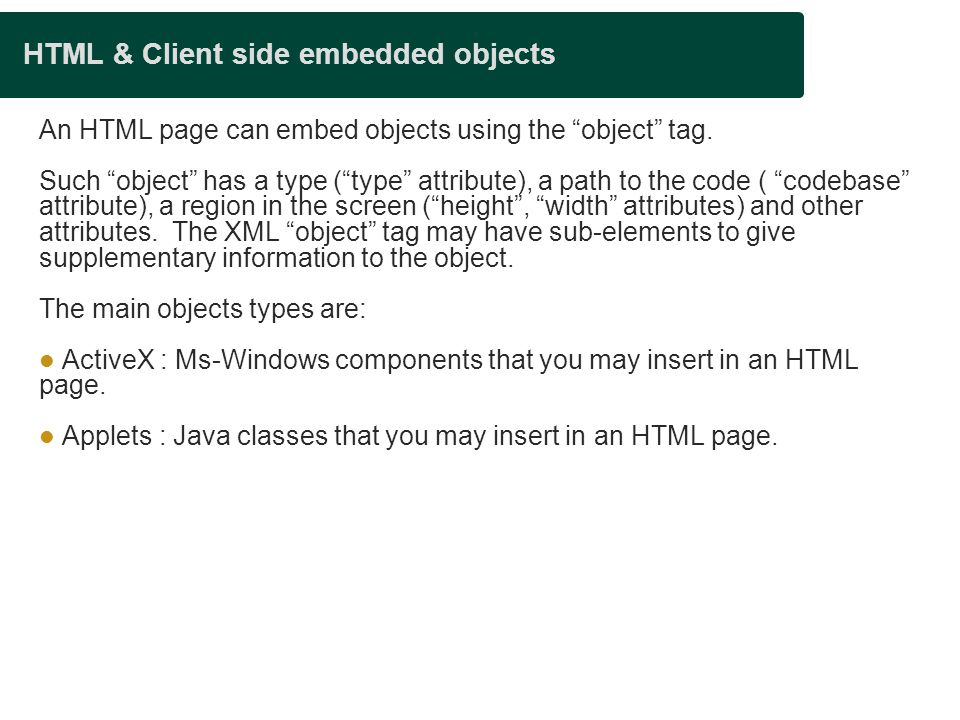 HTML & Client side embedded objects