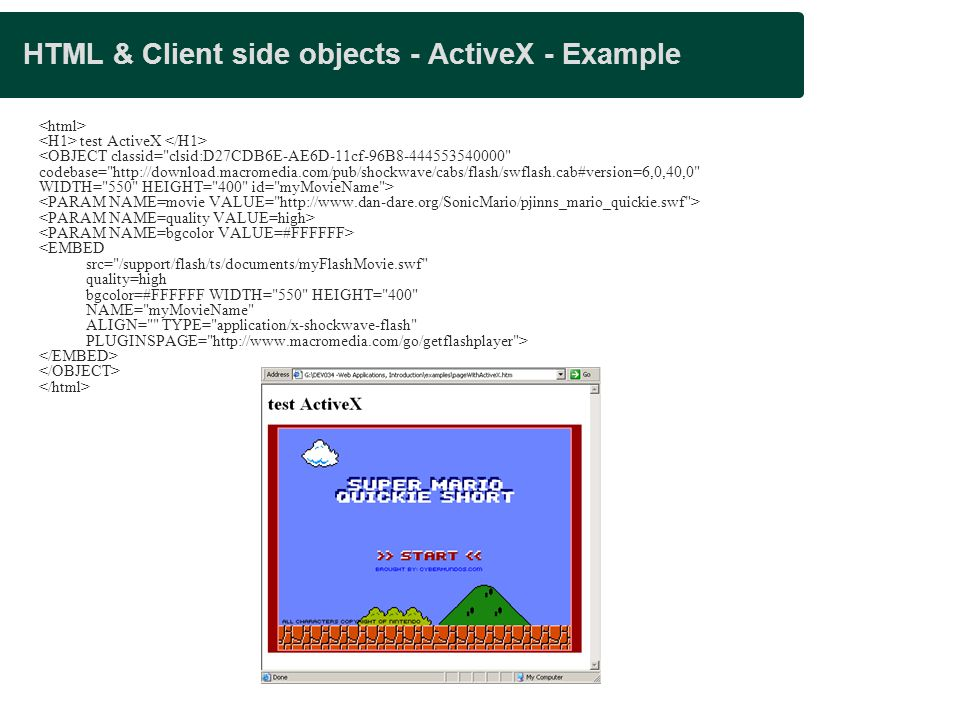 HTML & Client side objects - ActiveX - Example