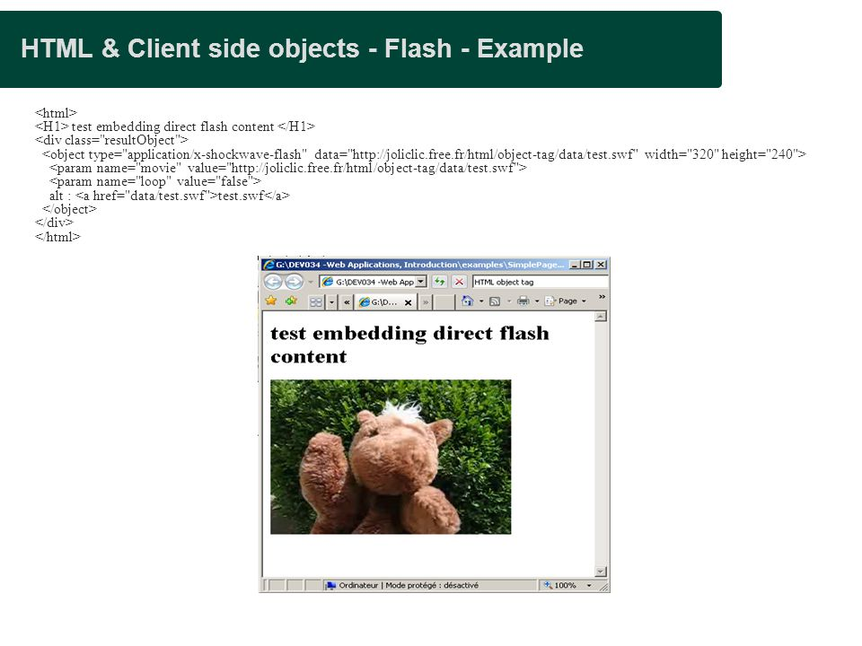 HTML & Client side objects - Flash - Example
