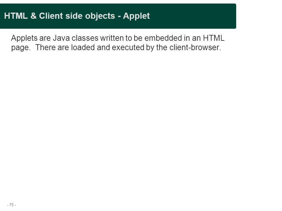 HTML & Client side objects - Applet