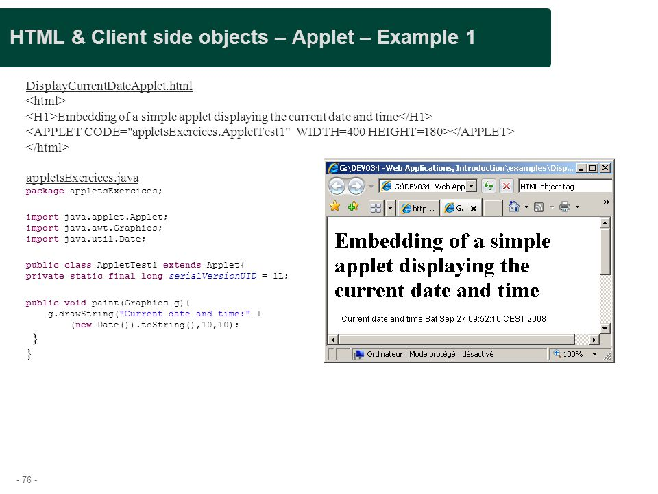 HTML & Client side objects – Applet – Example 1