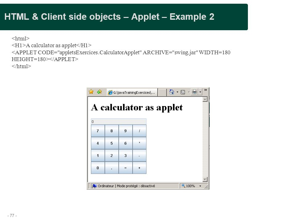 HTML & Client side objects – Applet – Example 2