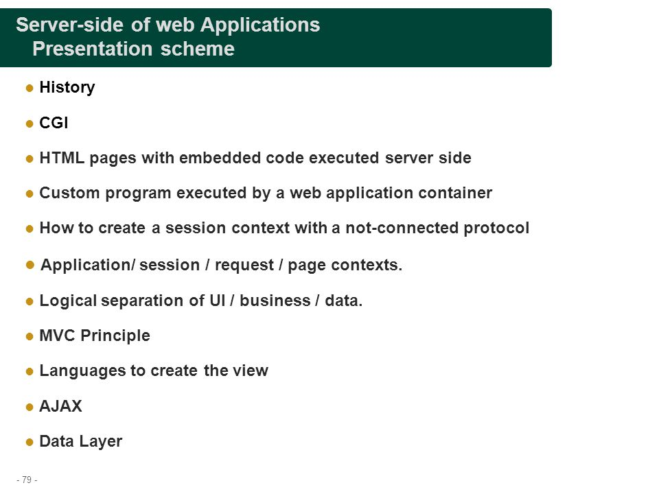 Server-side of web Applications Presentation scheme