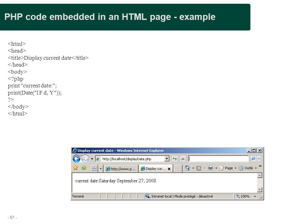 PHP code embedded in an HTML page - example