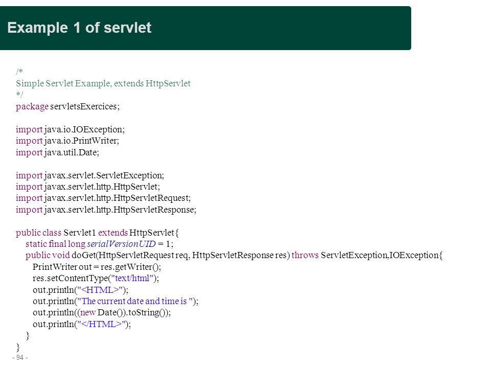 Example 1 of servlet Presentation title /*