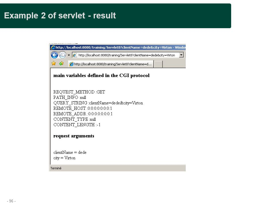 Example 2 of servlet - result