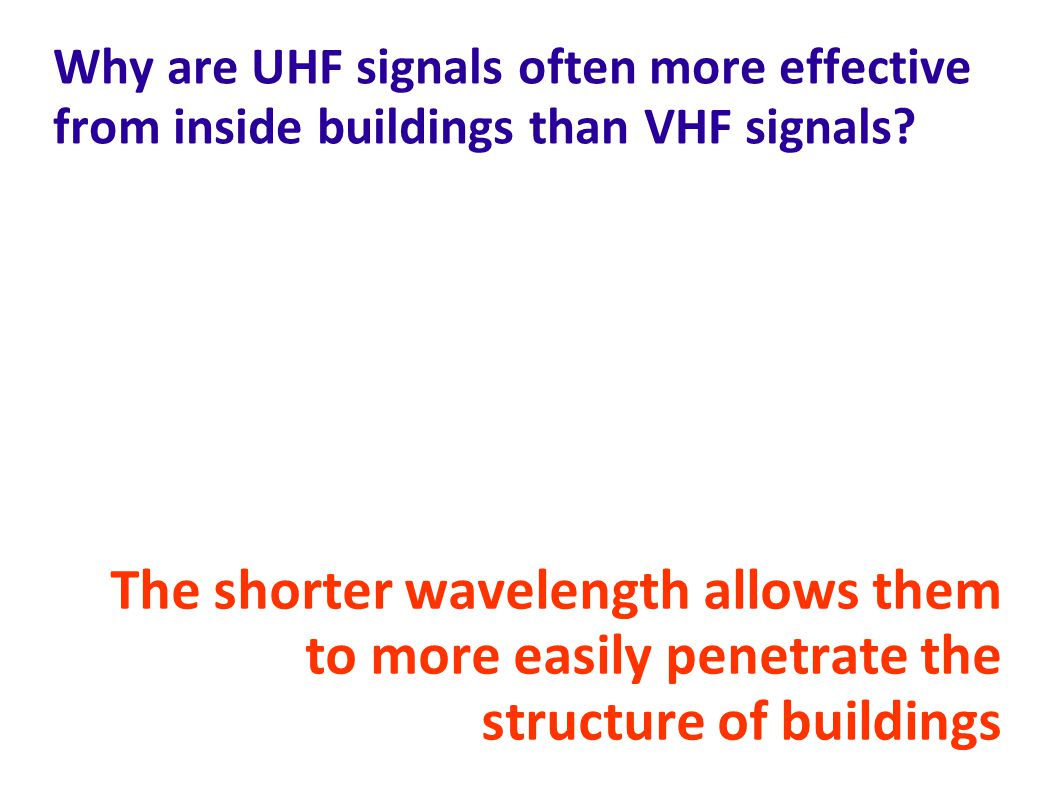 Why are UHF signals often more effective from inside buildings than VHF signals