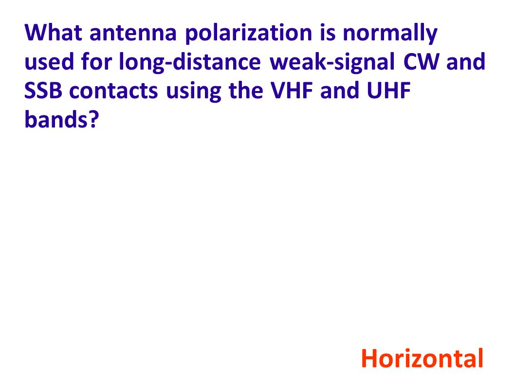 What antenna polarization is normally used for long-distance weak-signal CW and SSB contacts using the VHF and UHF bands