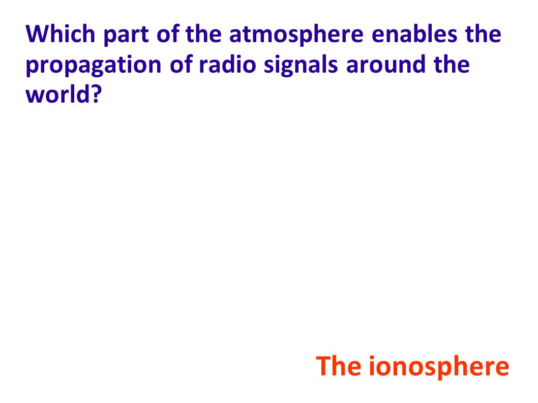 Which part of the atmosphere enables the propagation of radio signals around the world